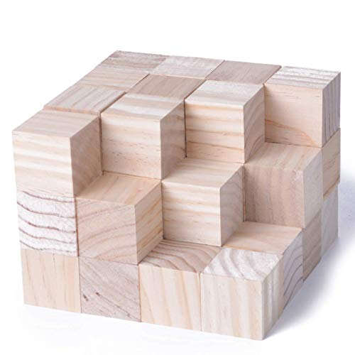 KINGCRAFT 40pcs Solid Wood Craft Blocks DIY Crafts Carving Painting Art Supplies for Children Shower Game Puzzle Making,1.5inch