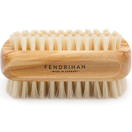 Genuine Boar Bristle Nail Brush with Real Olive Wood Handle MADE IN GERMANY (Wood Nail Brush)
