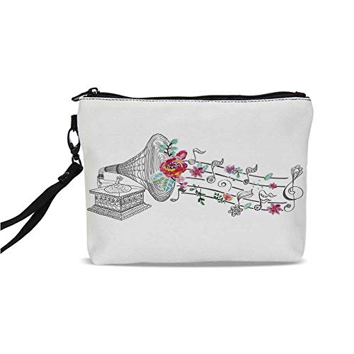 Music Decor Simple Cosmetic Bag,Vintage Gramophone Record Player with Floral Ornament Blossom Antique for Women,9