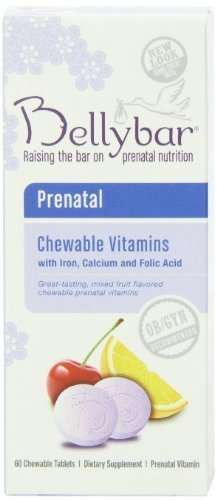 Chewable Fruit Flavor - Bellybar Chewable Prenatal Vitamins, Mixed Fruit Flavor, 60-Count (Pack of 3)