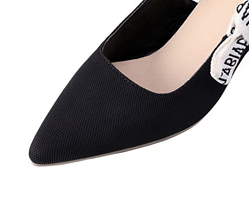 AmoonyFashion Womens Solid PU Kitten-Heels Pointed Toe Pull-On Pumps-Shoes Black NRossOhG