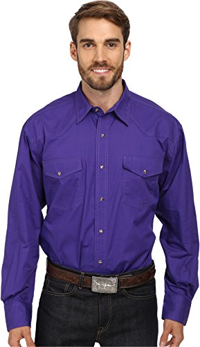 Roper Men's L/S Solid Basic Snap Front Purple Large