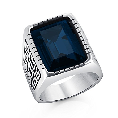 DALARAN Vintage Stainless Steel Rings Blue Cubic Zirconia Band Great Wall Wrap Band Signet Ring Size 12