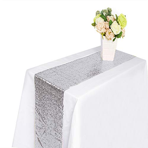 ♛ Euone Clearance ♛, New Sequin Satin Table Runner 30x300cm Glitter Wedding Party Banquet Venue Decor (Silver)