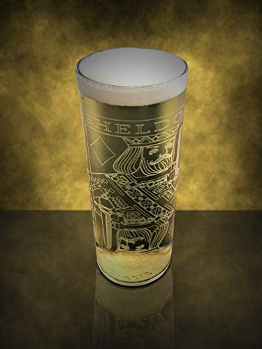 Custom Name engraved glass, Zombie Straight high ball personalized beer glass, Engraved King of Diamonds drinkware gift, 10.5oz custom gift for weddings, bachelor parties, Husband gift