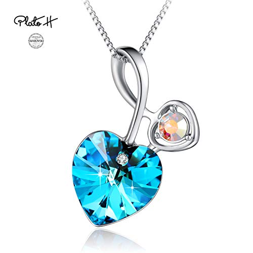 PLATO H Swarovski Element Necklace Cupid's Arrow Love Heart Pendant Necklace for Women, Ocean Blue Heart Crystal Necklace, Blue Heart Arrow Pendant Necklace, Blue Heart Birthstone Necklace (Arrow Element)