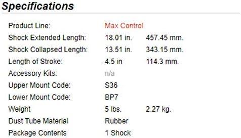 2 Gabriel 77524 MAX Control Suspension Shock Front Pair