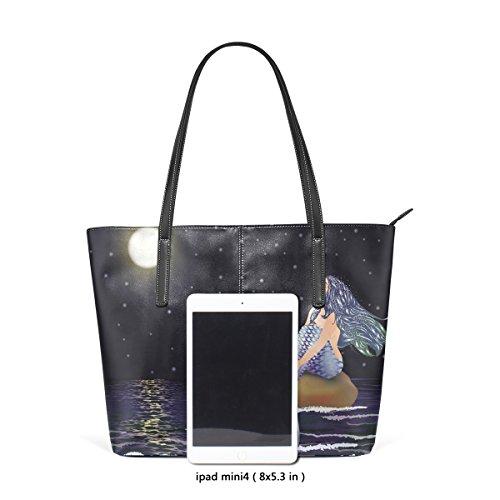 COOSUN Nacht Meerjungfrau PU Leder Schultertasche Handtasche und Handtaschen Tasche für Frauen