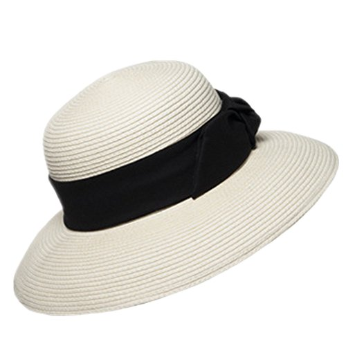 Home Prefer Women's Straw Beach Hat UPF 50+ Sun Caps Wide Brim Bowknot Ribbon Ivory