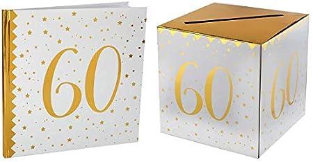 Santex 1 Pack urne et Livre dor Anniversaire Or et Blanc 40ans