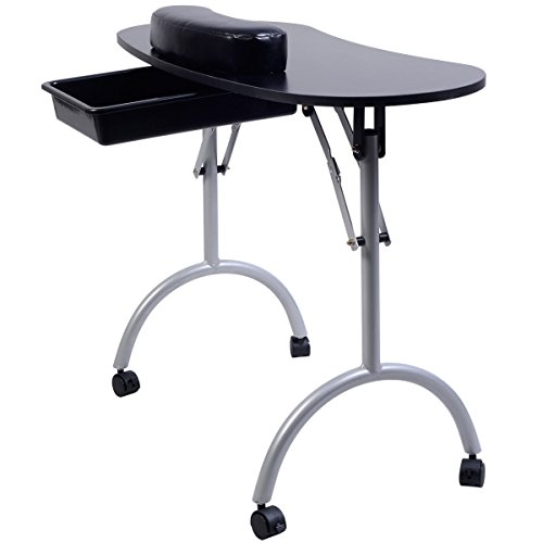 New Portable Manicure Nail Table Station Desk Spa Beauty Salon Equipment Black by Happybeamy (Image #2)