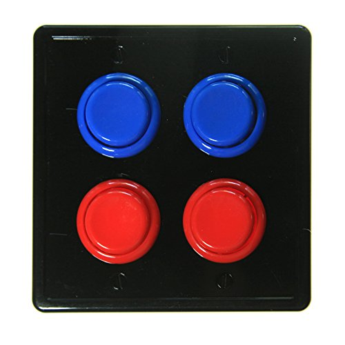 Face Light Switch (Arcade Light Switch Plate Cover, (Black/Red Red,Blue Blue) Double Switch, 2-Gang Standard Size Rocker Wall Plate, Game Room Decorator, Kid Bedroom Wallplate, Faceplate Replacement)