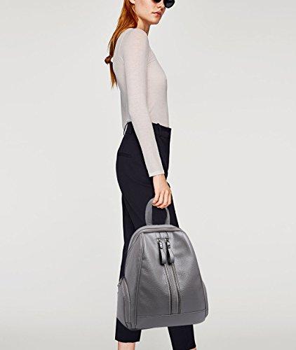 Backpack Travel Girls Purse Gray Satchel Daypack Schoolbag Bag Fashion amp;DORIS Pink Rucksack Shoulder PU NICOLE Leather RY1fgqCpf