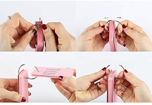 [Gesponsert]Kesote 6x Karteikarten mit Ring Pocket Lernkarten Flash Card für Unterwegs Vokabel Lernen Einschulung Schulanfang, Bunt