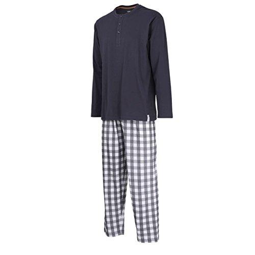 CECEBA Herren Pyjama, Schlafanzug, Shirt und Hose, langarm, Baumwolle, Single Jersey, blau, kariert