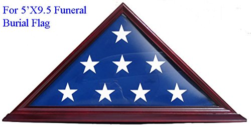 DisplayGifts 5' X 9. 5' Flag Display Case For Veteran, (American Cherry Stained Finish)
