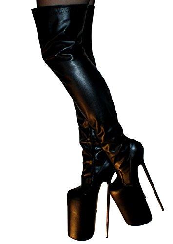 Erogance 30cm Extrem Plateau High Heels Kunstleder Overknees - Botas de Material Sintético para mujer negro