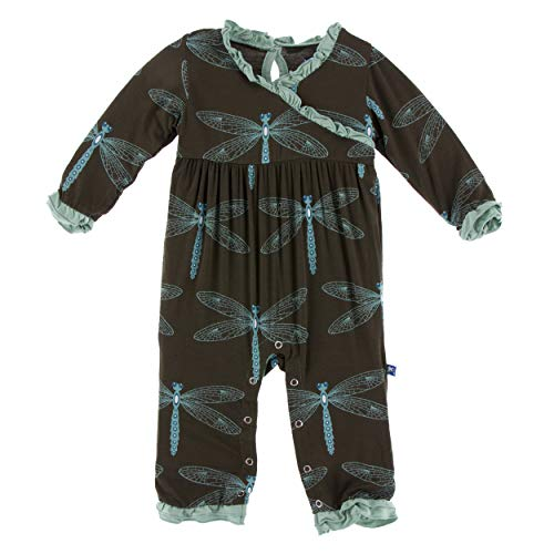 KicKee Pants Print Long Sleeve Kimono Ruffle Romper (3-6 Months, Giant Dragonfly)
