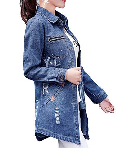 Donna Di Elegante Jeans Con Autunno Giorno Anteriori Cerniera Single Bavero Moda Style Giacche Tasche Lunga Giacca Ragazze Breasted Strappato Festa Blau Outerwear Transizione Manica Casual fU5qwxntd
