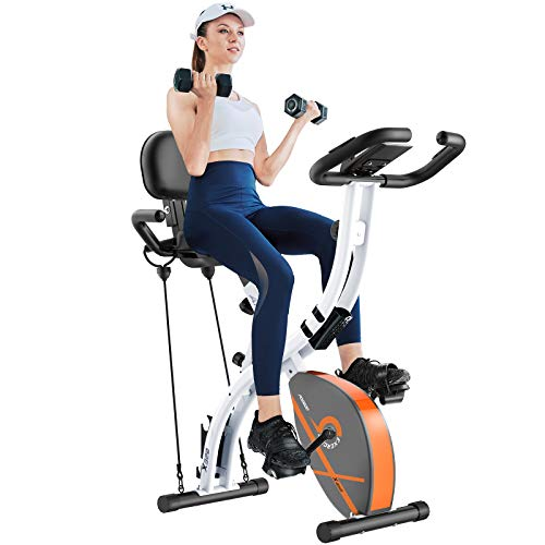 Afully Folding Stationary Exercise Bike with Arm Resistance Bands and Dumbbells,3 in 1 Foldable Upright Recumbent Home Indoor Cycling Bike with Adjustable Magnetic Resistance,LCD Monitor