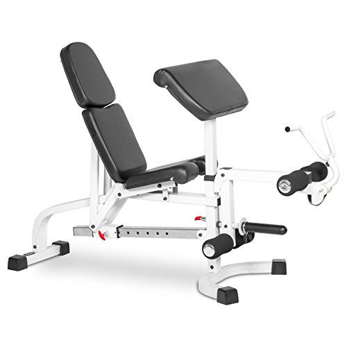 XMark FID Flat Incline Decline Weight Bench has Eight Back Pad Adjustments from Decline to Full Military Press Position, a Fixed Leg Extension and Removeable Preacher Curl XM 4419 (Gray or White)