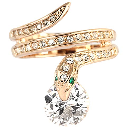 FC JORY Rose Gold Plate Twisted Snake CZ Crystal Cocktail statement Ring (6.5)