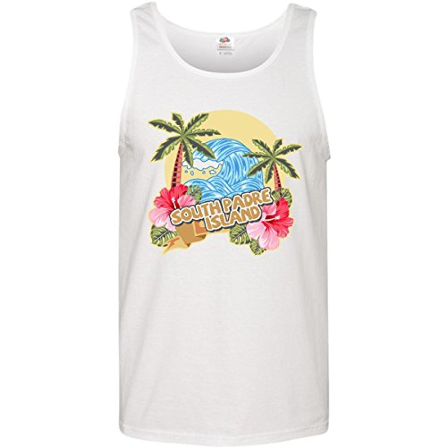 Inktastic - Spring Break with Ocean Wave Palm Men's Tank Top X-Large White 29271 - South Sea Tank