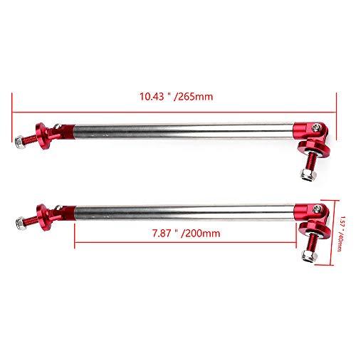 LUJUNTEC 2X Silver Universal Adjustable Bumper Lip Diffuser Splitter Rod Strut Tie Bar 7.87