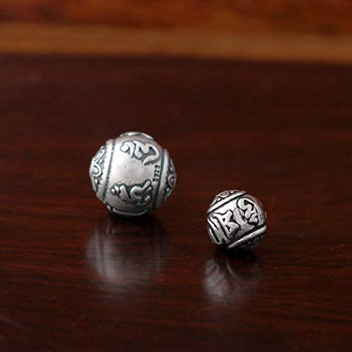 Polished Item Diameter: 1pc 9.5mm Pukido 925 Sterling Silver Tibetan Om Mani Padme Hum Spacer Round Beads Charm DIY A2308 -