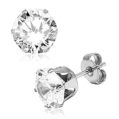 Stainless Steel 6-Prong Round White Cubic Zirconia Studs, 5mm ()