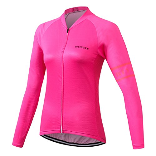 BIYINGEE Women's Cycling Jersey Long Sleeve Thermal Fleece with Reflective Stripe Fluorescence Pink Size M(CN) ()