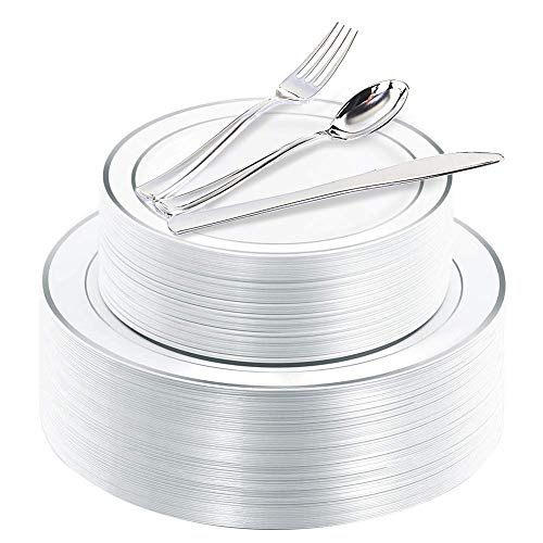 (200 Pieces Silver Disposable Plates with Plastic Silverware, Premium Heavyweight Silver Plastic Plates Includes: 40 dinner Plates 10.25