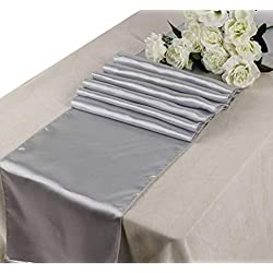 OWS Pack of 10 Wedding 12 x 108 inch Satin Table Runner Wedding Banquet Decoration-Light Silver Grey