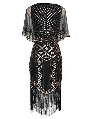 Dress 1920s Art 20s Dress Flapper with Deco Cape Deco Gatsby Dress Beaded Sequined Black Roaring Shawl qrqS5