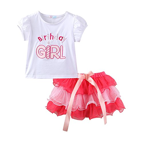 Mud Kingdom Little Girl Birthday Outfit 4 Tops and Skirt Tutu Clothes Set 4T Pink ()