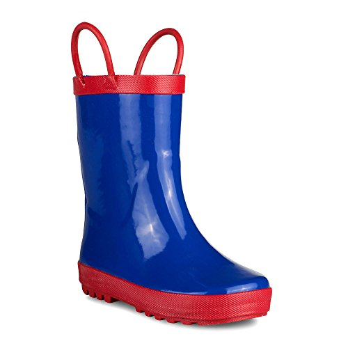 [SBR007P-ROYAL/RED-T8] Girls Rain Boots: Blue & Red, Easy On, Toddlers Size (Girls Blue Boots)