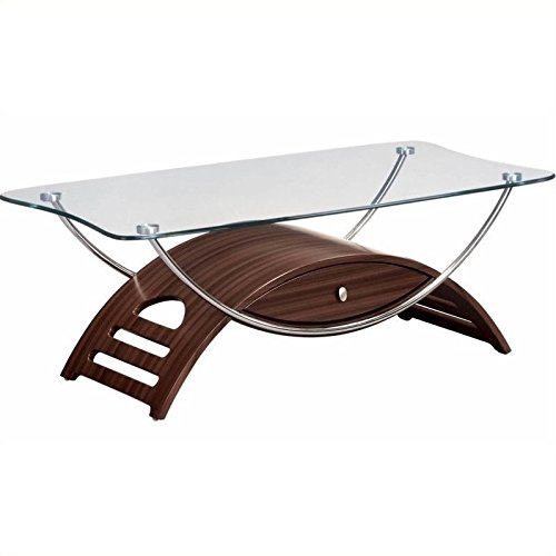 41MgZhihgTL - Global Furniture Chrome Occasional Coffee Table with Mahogany Legs