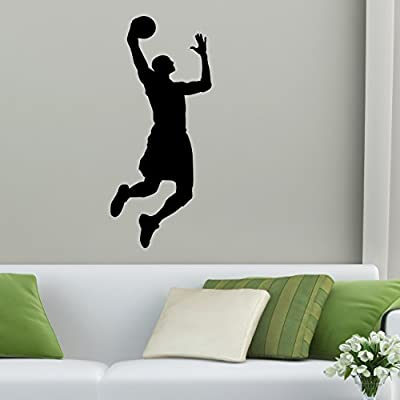 TheVinylGuru - Basketball Wall Decal 15 - Basket Dunking Vinyl Art for Home Decor - Removable Giant Sticker - Sport Player Silhouette for Boys and Girls - Safe Outline Figure for Themed Room Design: Home & Kitchen