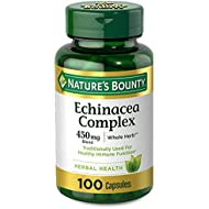 Echinacea Complex Capsules by Nature's Bounty. Herbal health supplement with Echinacea blend for year-round immune support. 450mg, 100 Capsules