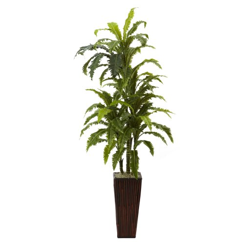 Nearly Natural 6748 Margarintum with Bamboo Planter, Green