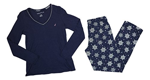 - Nautica Knit Top & Flannel Pants 2-Piece Pajama Set (X-Small, Blue Snowflakes)