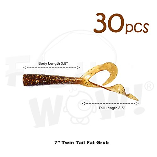 Fish WOW! 30pcs 6 inch Twin Tail Perch Grub 6