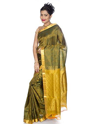 Shop Pure Silk Sarees - Mandakini Women's Kanchipuram Handloom Olive Pure Silk Saree (MK906_Olive)