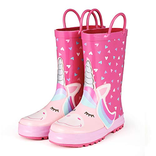 KomForme RHGD004-9M Animal Kids Rain Boots for Girls Heart Unicorn,9 M US Toddler ()