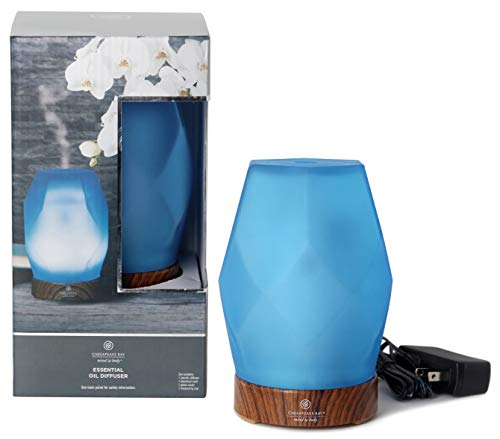 Diamond Oil Candle - Chesapeake Bay Candle Aromatherapy Essential Oil Diffuser, Wood Grain Base with Waterless Auto Shut-Off Glass Cover and Blue Diamond Shape, 100ml,
