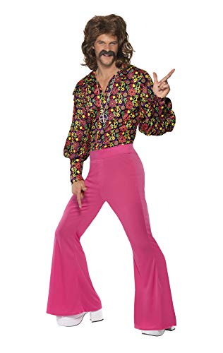 Smiffys Men's 1960's CND Slack Suit Costume, Top and pants, 60's Groovy Baby, Serious Fun, Size M, Multicolor -
