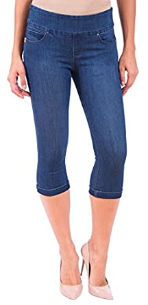 LOLA Women's Michelle Pull On Stretch Denim Capri Jeans at Amazon ...