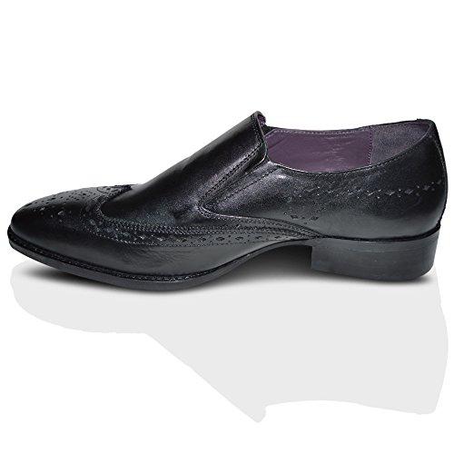 Gucinari Mens 100% Cuir Brogue Habillée Affaires Chaussures À Enfiler - Homme, Noir, 43 EU