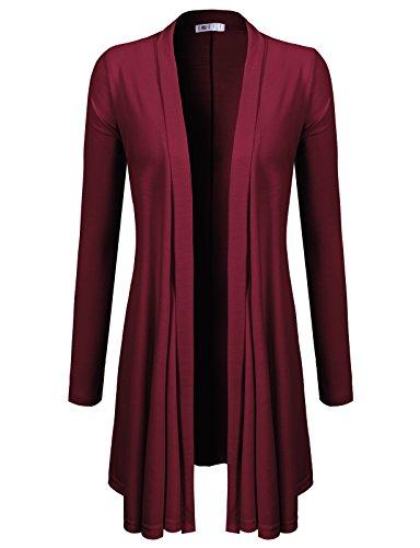 H2H Women's Long Sleeve Waterfall Asymmetric Drape Open Long Maxi Cardigan Wine US XL/Asia XL (CWOCAL072)