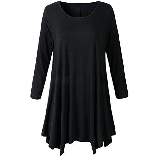 Honghu Women Plus Size Irregular Hem Long Sleeve Loose Shirt Tunic Tops Black XL Black XL